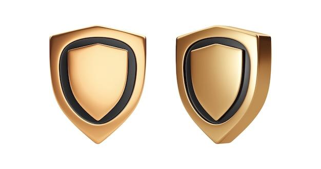Oro premium scudo distintivo emblema segno o icona simbolo di guardia d'oro isolato su sfondo bianco con set di armi di protezione di sicurezza rappresentazione 3d.