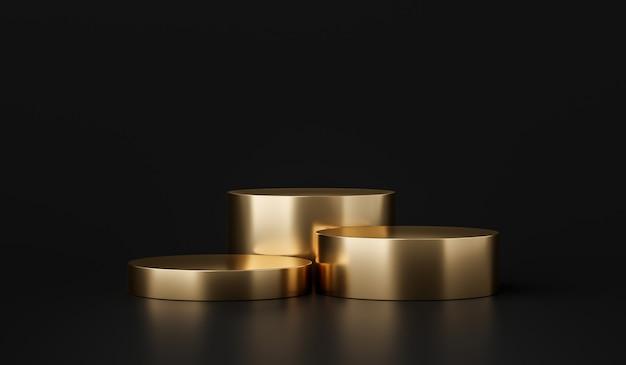 Supporto per sfondo prodotto in oro o piedistallo podio su display pubblicitario con fondali vuoti rendering 3d.
