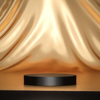 Supporto per sfondo prodotto in oro o piedistallo podio su display pubblicitario di lusso con fondali vuoti rendering 3d.