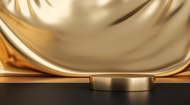 Supporto per sfondo prodotto in oro o piedistallo per podio su display pubblicitario di lusso con fondali vuoti. rendering 3d.
