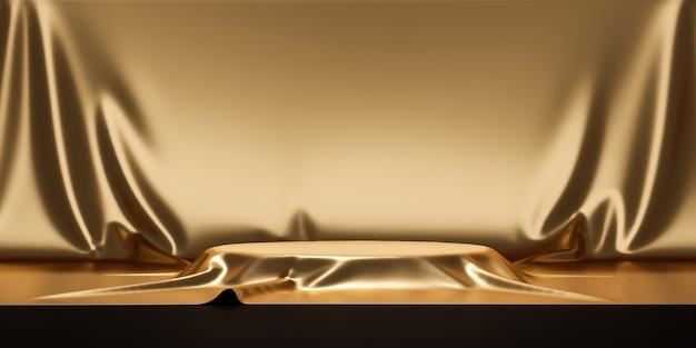 Supporto per sfondo prodotto in oro o piedistallo per podio su display pubblicitario di lusso con fondali vuoti.