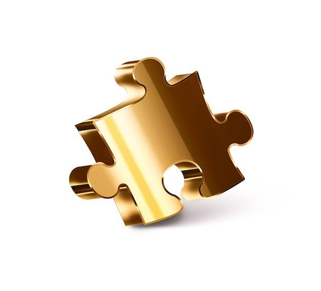Pezzo di puzzle d'oro su sfondo bianco