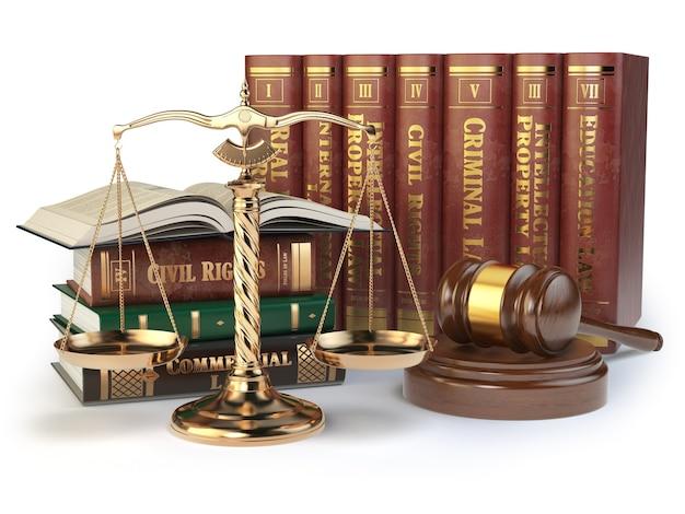 Bilancia della giustizia, martelletto e libri d'oro con diversi campi di diritto isolati su sfondo bianco. concetto di giustizia. illustrazione 3d