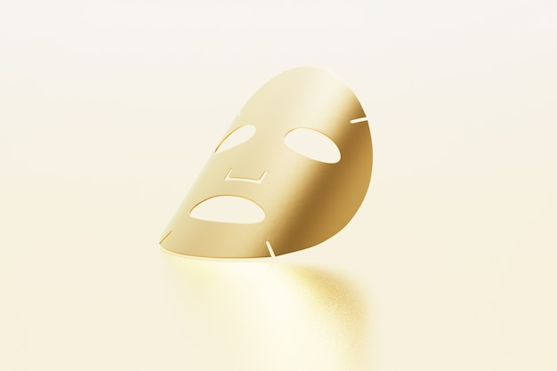 Maschera in lamiera d'oro isolata su oro