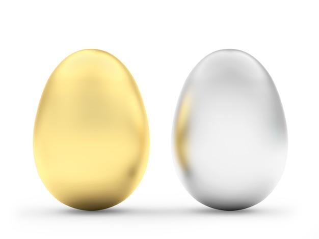 Uova di pasqua d'oro e d'argento