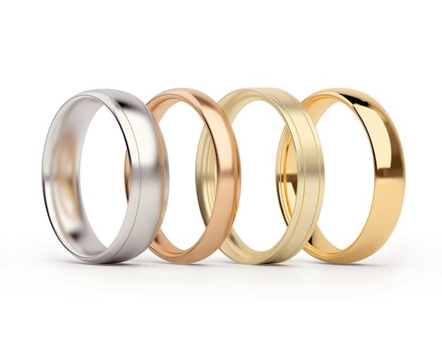 Anelli d'oro e d'argento isolati