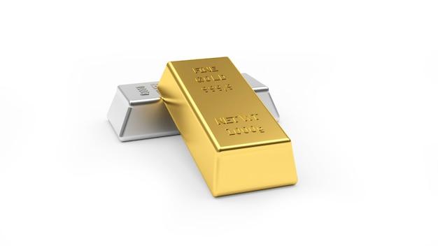 Lingotti di metalli preziosi lucidi in oro e argento
