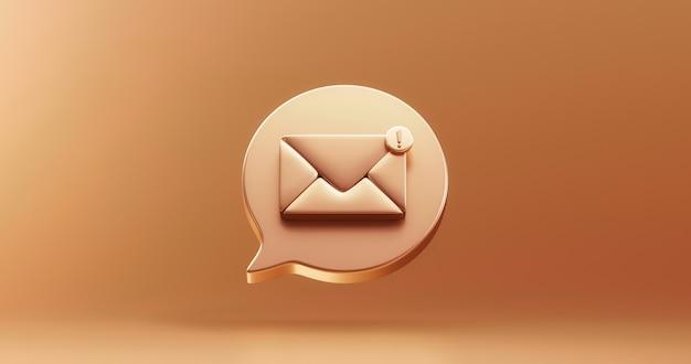 Simbolo della bolla dell'icona del messaggio di notifica della posta sms dell'oro o nuovo avviso di contatto chat e web design piatto su sfondo dorato con la bolla del segno di avviso di promemoria e-mail di comunicazione sociale. rappresentazione 3d.