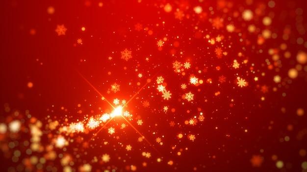 Fiocchi di neve scintillanti d'oro e natale magico delle stelle