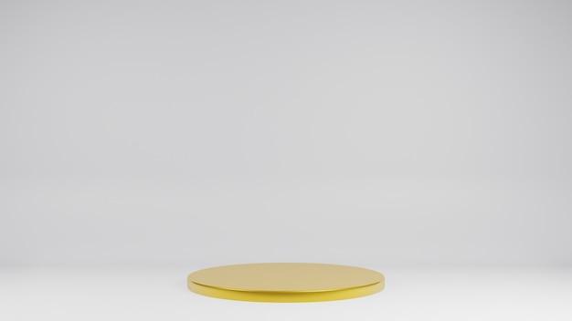 La fase d'oro su sfondo bianco per il rendering 3d del prodotto attuale
