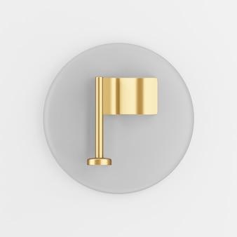 Icona della bandiera da tavolo d'oro. pulsante chiave tondo grigio rendering 3d, elemento dell'interfaccia utente ux.