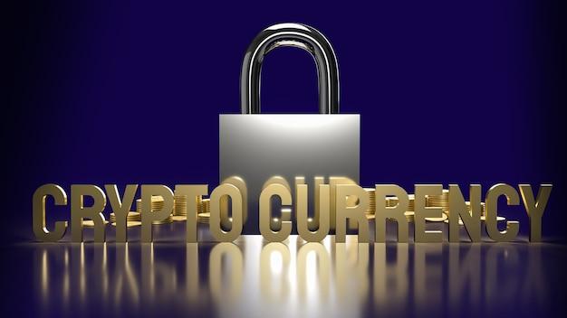 La valuta crittografica del testo in oro e il blocco per il rendering 3d dei contenuti aziendali di sicurezza.