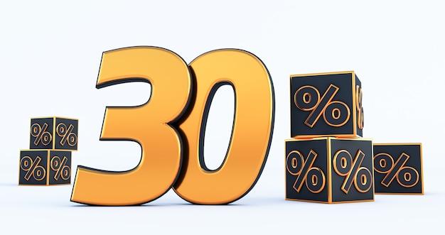 Numero d'oro trenta 30 percento con percentuali di cubi neri isolati su sfondo bianco. rendering 3d