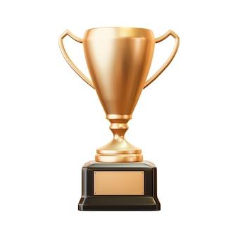 Coppa trofeo d'oro del primo posto e premio di successo per il campione vincitore isolato su sfondo bianco con obiettivo di realizzazione. rappresentazione 3d.