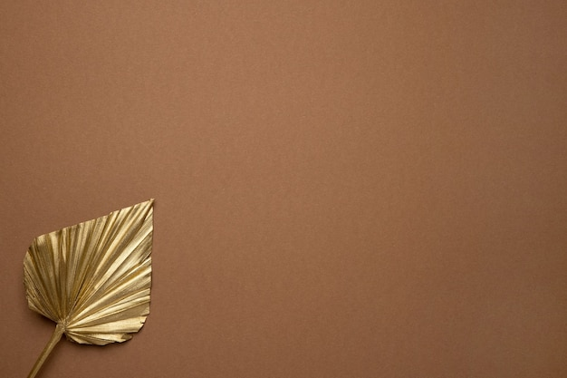 Foglia tropicale dell'oro sulla superficie marrone