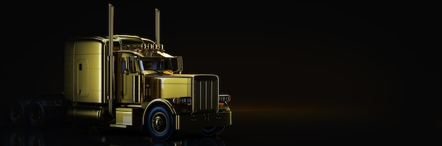 Camion dell'oro nel rendering 3d di sfondo nero
