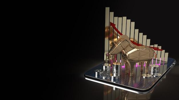 L'unicorno d'oro e il grafico su tablet per avviare il rendering 3d dei contenuti aziendali.