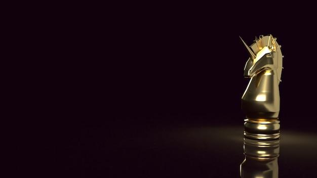 Gli scacchi dell'unicorno d'oro per avviare il rendering 3d dei contenuti aziendali