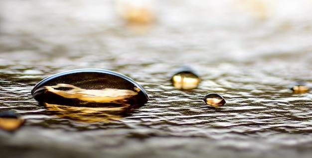 Primo piano delle gocce di acqua dell'oro sul concetto di lusso festivo del fondo astratto della lamina d'argento