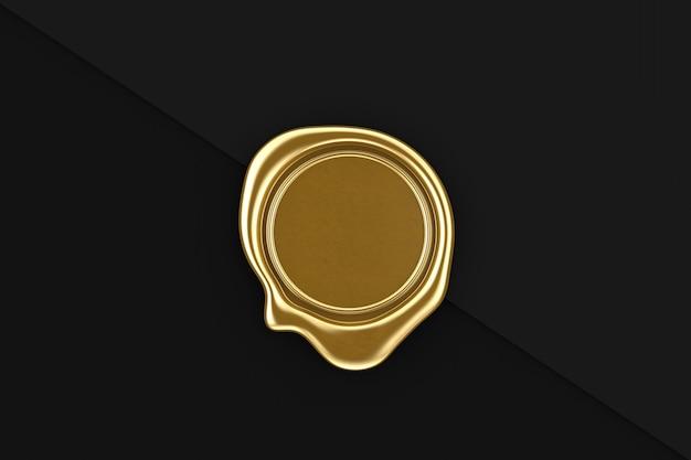 Sigillo di cera d'oro con spazio vuoto per il tuo design su uno sfondo di carta nera. rendering 3d