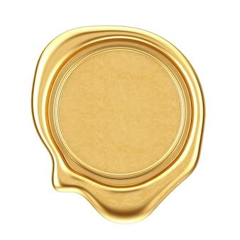 Sigillo di cera d'oro con spazio vuoto per il tuo design su sfondo bianco. rendering 3d