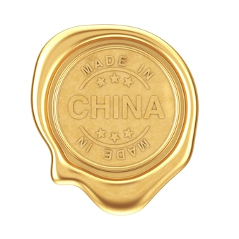 Sigillo di cera d'oro con segno made in china su sfondo bianco. rendering 3d