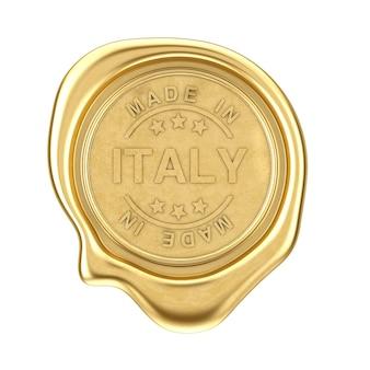 Sigillo di cera d'oro con segno made in italy su sfondo bianco. rendering 3d