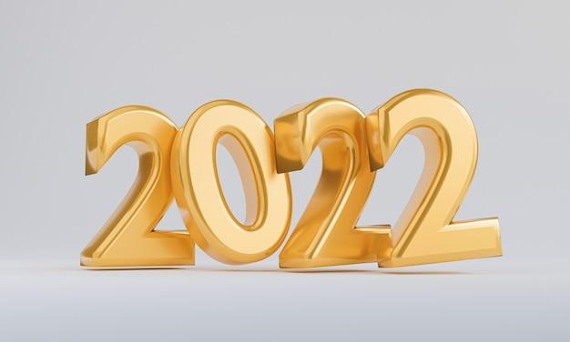 Anno d'oro 2022 su sfondo bianco per la preparazione di buon natale e felice anno nuovo di rendering 3d.