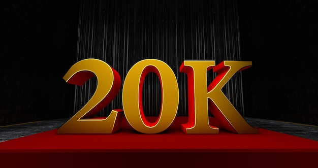 Golden 20k o 20000 grazie, utente web grazie festeggia di abbonati o follower e mi piace, rendering 3d