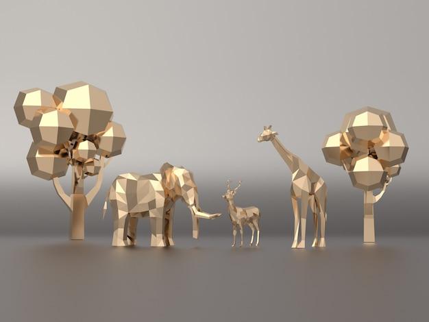 Modello 3d dorato poligono basso elefanti, cervi, giraffe.