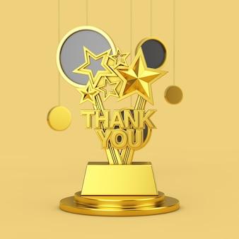 Trofeo golden award con segno di ringraziamento su un piedistallo dorato con cerchi astratti appesi su sfondo giallo. rendering 3d