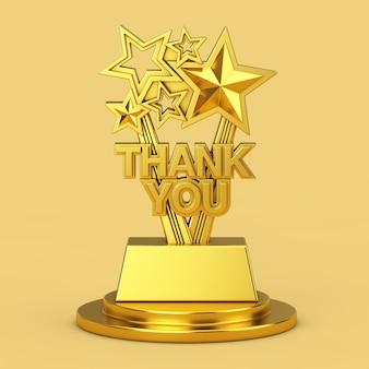 Trofeo golden award con segno di ringraziamento su un piedistallo dorato su sfondo giallo. rendering 3d