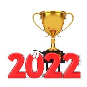 Carattere dorato della persona della mascotte del trofeo del vincitore del premio con il segno del nuovo anno 2022 su un fondo bianco. rendering 3d