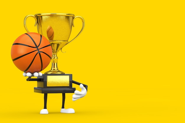 Carattere della persona della mascotte del trofeo del vincitore del premio dorato con la palla da basket su sfondo giallo. rendering 3d