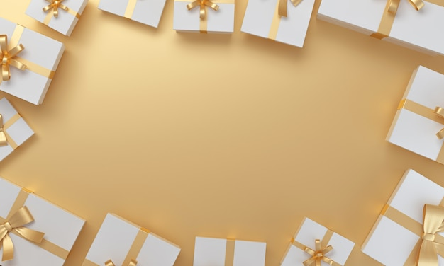 Sfondo dorato intorno ai regali di natale o di compleanno in vista dall'alto rendering 3d
