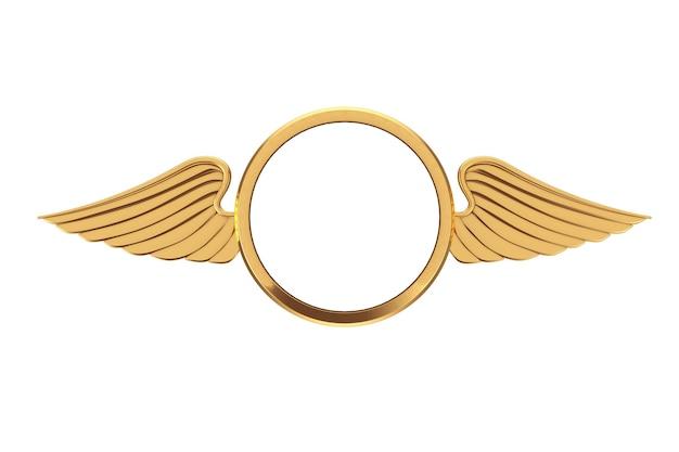 Distintivo dorato con ali e spazio libero per il tuo design su sfondo bianco. rendering 3d