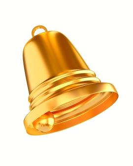 Campana d'oro su sfondo bianco. illustrazione 3d isolata