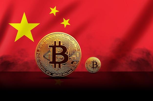 Moneta bitcoin dorata sullo sfondo della bandiera cinese. concetto di criptovaluta