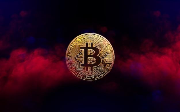 La moneta bitcoin dorata è nel concetto di criptovaluta di sfondo fumo rosso e blu