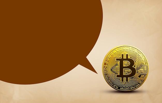 Moneta dorata del bitcoin sul vecchio spazio di concetto di criptovaluta del fondo della carta marrone per il testo