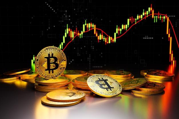 Bitcoin dorato su sfondo scuro, rendering di illustrazioni 3d