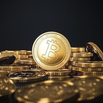 Golden bitcoins (btc) monete mucchio sfocatura in primo piano e lo sfondo. per il mercato delle criptovalute, promozione dello scambio di token. rendering 3d