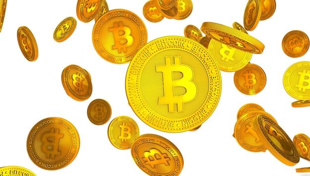 Bitcoin dorati isolati su bianco
