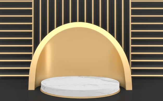 Stile dorato e nero scuro, rendering geometrico 3d minimal podio nero
