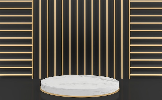 Golden e black mock up moderno sfondo nero e oro e podio cerchio bianco.