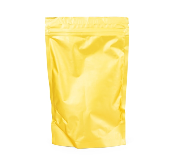 Confezione doy-pack, doypack foil doypack in bianco dorato per alimenti o bevande con chiusura a zip. modello di confezione di plastica