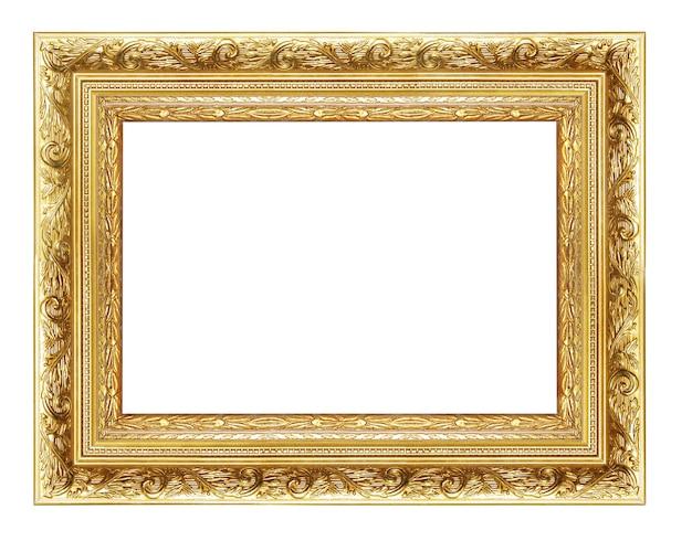 Angolo cornice vuota dorata isolato su bianco