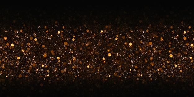 Golden bokeh glitter bokeh effetto sfondo nero 3d illustrazione