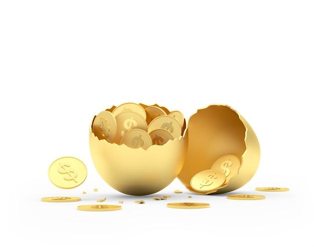 Uovo rotto dorato riempito di monete del dollaro
