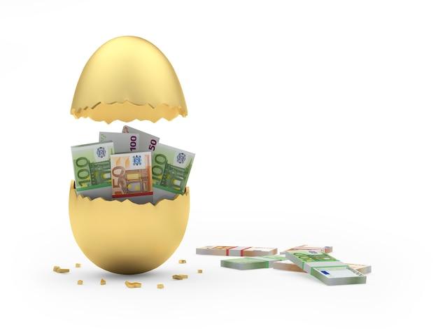 Uovo rotto dorato pieno di banconote in euro